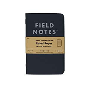 FIELD NOTES Pack of 3 Notebooks - Pitch Black Ruled