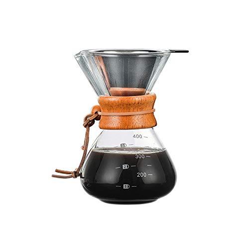 Pour Over Kaffeebereiter Set - Kaffeemaschine mit Borosilicat-Glaskaraffe - Filter für manuelle...