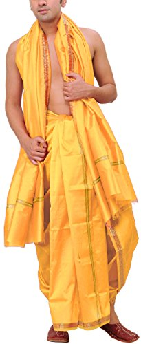 Exotic India Men's Dhoti and Angavastram set with Golden Woven Paisley on...