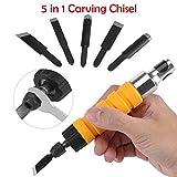 Sensrise, scalpello elettrico per legno, set di strumenti per incisione del legno, per trapano elettrico, albero flessibile, fai da te