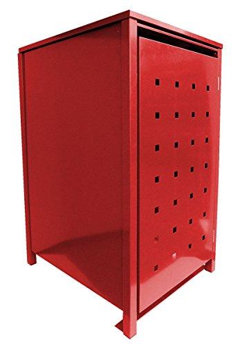 BBT @ | Cache-poubelle solide pour 1tonne 240l chacune avec rabat en rouge (RAL 3000)/Oblong 2/Plaque de métal avec revêtement en poudre solide/versch. Couleurs disponibles + Tôle-stanzungen/Dermbach promotionnels Poubelle pour poubelles conteneurs