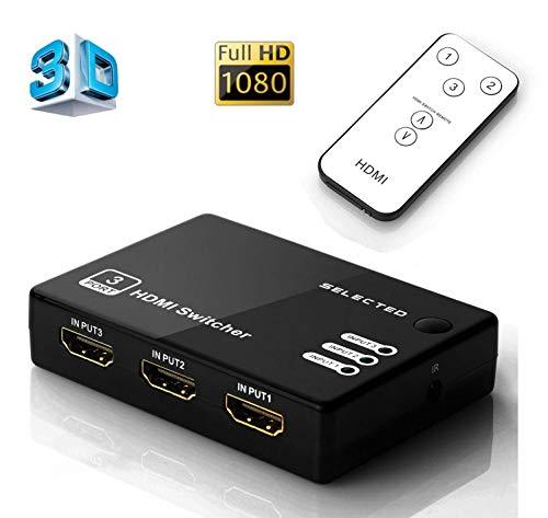 Musou Full HD Commutatore HDMI a 3 Porte Switch HDMI, Commutazione Automatica 3 IN 1 OUT con Telecomando, 3x1 HUB 3 vie di ingresso 1 uscita HDMI Splitter, Supporto 3D 1080P, Nero