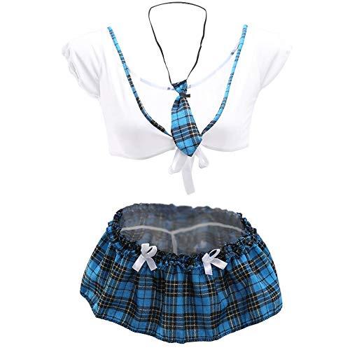 GLOGLOW Sexy Dessous Uniform Set, Schulmädchen Outfit Crop Top & Minirock Cosplay Kostüm