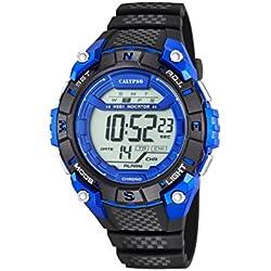 Calypso Unisex Armbanduhr Digitaluhr mit LCD Zifferblatt Digital Display und schwarz Kunststoff Gurt k5683/4