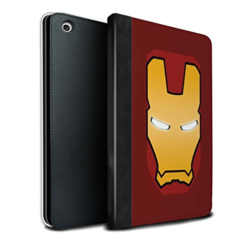 Stuff4® PU-Leder Hülle/Case/Brieftasche für Apple iPad Mini 1/2/3 Tablet/Rot/Gold Roboter Muster/Superheld-Helm Kollektion (Gold Ipad Mini 1 Fall)
