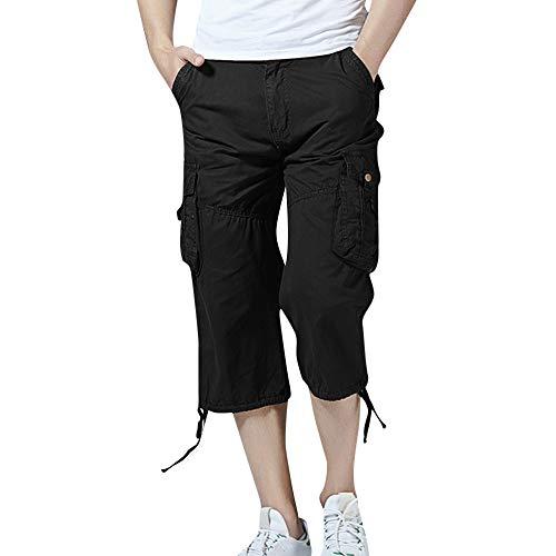 UJUNAOR Herren Cargo 3/4 Capri Hose Pant Robuste Freizeit Hose Sommer(Schwarz,EU 48/CN 32) - Fly Damen-shorts