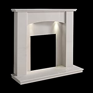 "White Marble Stone Surround Gas Electric Fireplace Suite with Spotlights - 1"" rebate"