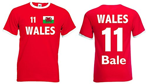 world-of-shirt Herren Retro T-Shirt Wales EM 2016 Bale Nr.11 Rot