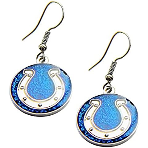 Sports Team Indianapolis Colts Glitter Sparkle Dangle Logo Earring Set by aminco
