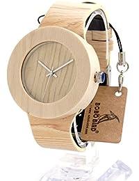 bobo pájaro H12–madera de arce Ronda relojes con solo corte piel banda