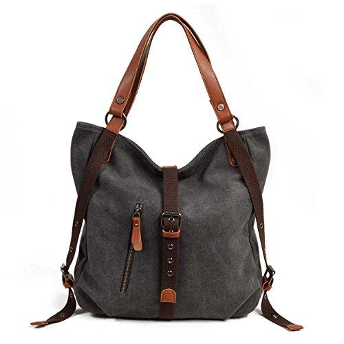 VZVABAG Damen Handtasche Rucksack Frauen Schultertasche Canvas Shopper Tasche Vintage Rucksackhandtasche Verstellbare Schultergurte (Grau) -