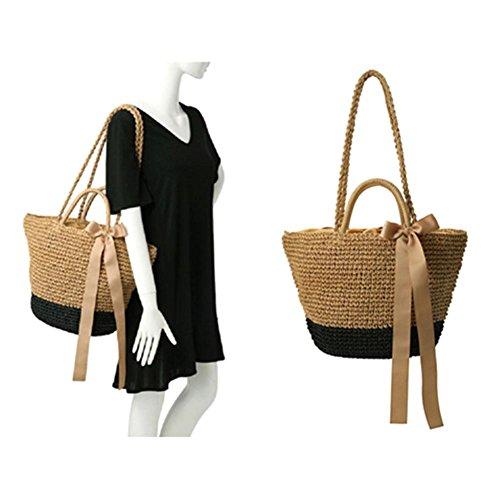 CatcherMy Strandtasche Outdoor Strand Stroh Geflochtene Woven Strandtasche Dual-Zweck Reise Sling Bag Umhängetasche
