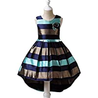 KOKQSX-Girls'dresses New Kids' Vestidos Ropa de niños Moda Azul 130cm