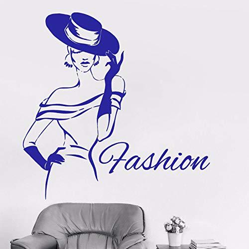 guijiumai Lady Fashion Girl Design Adesivo in Vinile Moda Donna Adesivo Abbigliamento Boutique Adesivo per Finestra Impermeabile 1 85X85 CM