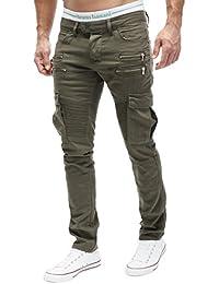 MERISH Jeans Biker Hommes Cargo Style Slim Fit Poches avec fermeture éclair Modell J2055