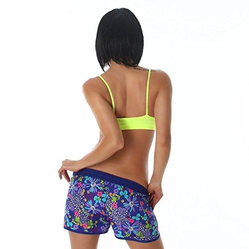 Voyelles Shorts Dames Shorty avec imprimé floral Court été Pantalon de loisir avec Poches sur les cotés et ceinture élastique plusieurs couleurs Bleu
