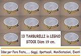 ARDITO MICHELE 10 TAMBURELLI TAMBURELLO in Legno 19 cm con Sonagli in Metallo Stock Festa Party Spettacolo Saggio