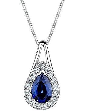 Elli Damen-Kette mit Anhänger Tropfen 925 Silber Synthetischer Saphir Tropfenschliff blau - 0110992414