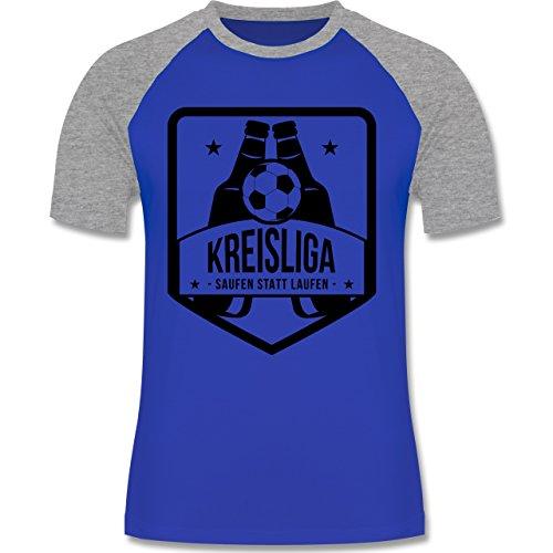 Fußball - Kreisliga - Saufen statt laufen - zweifarbiges Baseballshirt für Männer Royalblau/Grau meliert