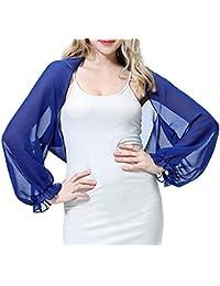 MSemis Chal de Gasa para Fiesta Estola de Chifón para Mujer Capa Boda Mangas Volantes Camisa
