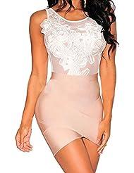 V-SOL Mono Mujer Conjunto Braga Sin Manga Bordado Floral Bodysuit (Blanco)