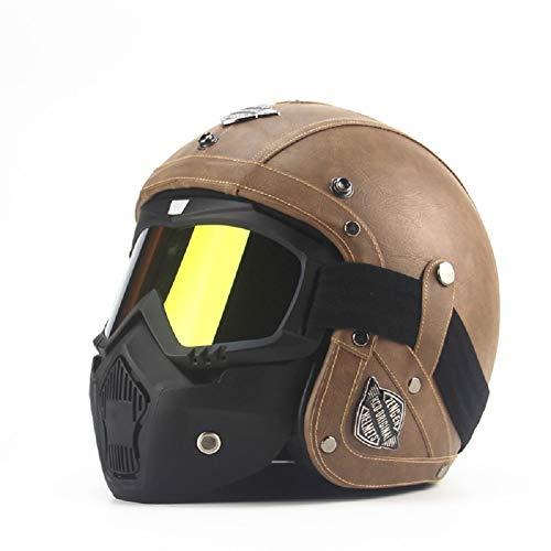 Peng Fang Harley Caschi da moto Mezza caschi Chopper Casco da bici PU Leather Open Face Casco moto vintage con maschera di protezione (M, marrone)