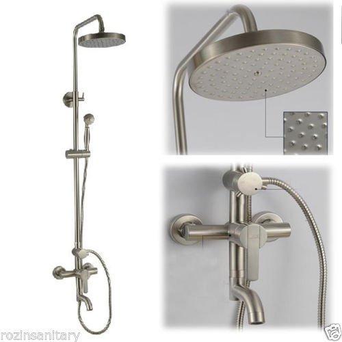 Luxurious shower Neue Nickel gebürstet Regendusche, Badewanne Armatur Set + Dusche + 8