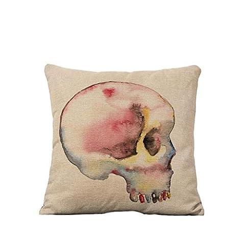 MNII Tête de crâne Feuilles Pique Toile de lin Canapé Oreiller cale Accueil Voiture Oreiller cale ,