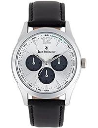 Reloj hombre JEAN Bellecour y pulsera de cuarzo reloj plateado 42 mm negro piel jb1065