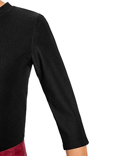 oodji Ultra Damen Bluse mit 3/4-Arm und Reißverschluss Am Rücken Schwarz (2900N)