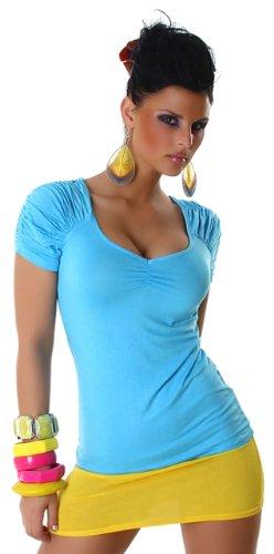 Voyelles Damen Shirt mit gerafften Ärmeln & V-Ausschnitt Einheitsgröße (34-38) Türkis