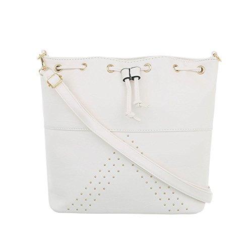 Ital-Design Damen-Tasche Mittelgroße Schultertasche Rucksack Used Optik Kunstleder Weiß TA-C582