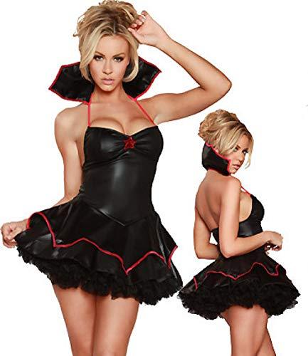 Conjuntos De Lencería para Mujer Venta Caliente De Alta Calidad De Las Mujeres Traje De Vampiro Sexy De Látex De Cuero Vestido De Encaje De Múltiples Capas Bruja Exótica Disfraces De Halloween Cospla