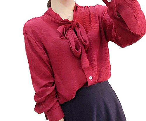 Purpura Erizo Damen Schluppe Knopfleiste Freizeit Leicht Bequem Bluse Weiß