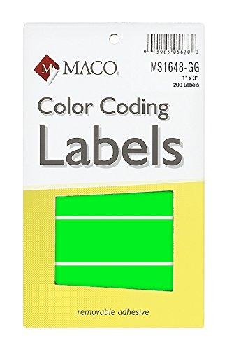 Juego de neón verde Rectángulo codificación de Color etiquetas, 1x 3pulgadas, 200por caja (ms1648-gg)