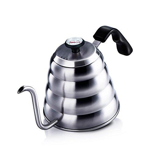 Love-KANKEI® Handbrüh Kaffeekessel Edelstahl Wasserkessel Teekessel, mit Thermosmeter, (1,2L) optimaler Kessel für aufgegossenen Filterkaffee und Tee, Induktionsgeeignet Kessel Mit Schwanenhals