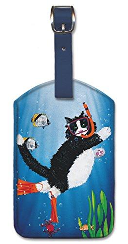 Pacifica Island Art Kofferanhänger Gepäckanhänger Kunstleder Bag Tags - Snorkel Kitty von Peter Powell