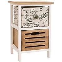 CLP Petite commode TAMARA table de téléphone, meuble d'appoit avec deux tiroirs et deux paniers de style campagnard blanc/marron