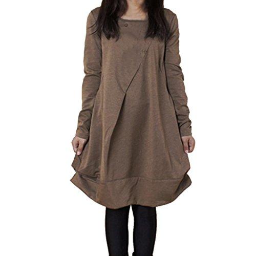 Damen Sweatshirt Kleid FORH Frauen Langrm Pullover Jumper Kleid Classic Einfarbig Sweatshirt Kleid Oberteile Warm Oversize Blusenkleid aus hochwertiger Baumwollmischung (XXL, Kaffee) (Hose Hosen Graues Kleid)