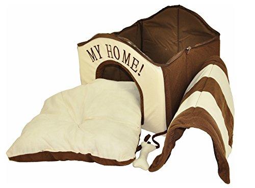 nanook Hunde-Haus Hunde-Höhle TABOU inkl. Kissen, kleine Hunde und Katzen, Größe L, braun weiß, Indoor - 4
