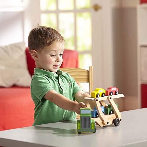 Melissa & Doug Car Transporter Truck & Cars Wooden Toy Set (Compatible with Wooden Train Tracks, Quality Wood Construction, 35.052 cm H x 17.018 cm W x 8.509 cm L)