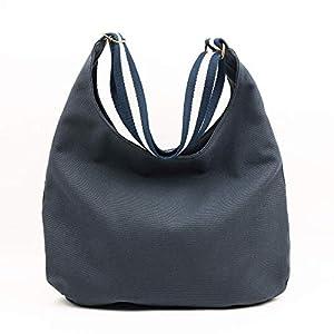 Dunkelblau-graue Hobo-Tasche. Umhängetasche mit Reißverschluss, Taschen und verstellbarem Gurt