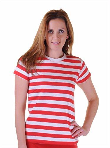 mafhh55 Unisex Herren Damen Kinder Weiß Stripped Schwarz Blau Rot Kurzarm Baumwolle Streifen Top T-Shirt (Rot, Damen S/M UK8-10 EU(36-38)) (Blau Shirt Weiß Streifen)