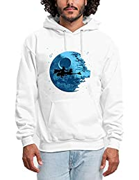 d6ff7869922c4 HUIYIYANG Tees Custom Hoodie for Men, Blue Planet and Witch Silhouette  Pattern Pullover Sweat à