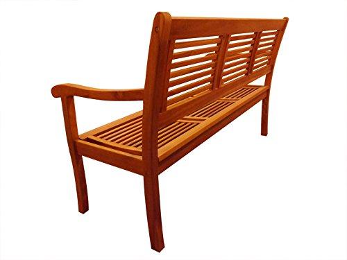SAM® Garten-Bank Cordoba aus Akazie-Holz, FSC® 100% zertifiziert, 150 cm Breite, 3 Sitzer Holzbank, Balkon-Bank aus Akazien-Holz geölt, Garten-Möbel in braun, Massiv-Holz-Bank für Terrasse - 2