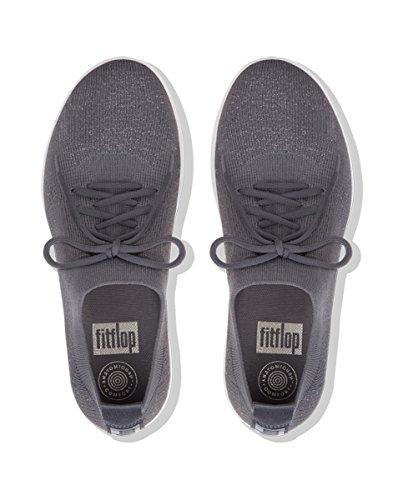 Fitflop Damen F-sporty Uberknit Sneakers-sneaker Metallizzato Grau