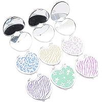 Frcolor Mini Bolsillo Espejo de Maquillaje en Forma de corazón Espejos compactos cosméticos Lados Dobles portátiles Maquillaje Espejo para Mujeres (Color Aleatorio)