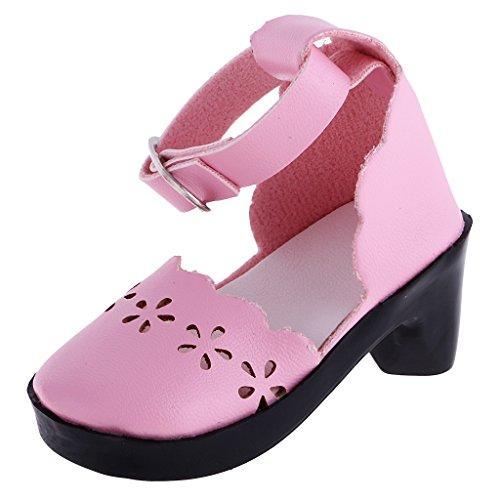MagiDeal 1/3 Casual Strap PU-Leder Schuhe Prinzessin Schuhe Für Puppen - Pink Mary Janes 3 Strap Mary Jane