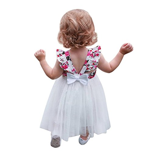 9fa55224ad4e KOLY Toddler Kids Girls Flower Dress Stampa Senza Maniche Backless Tutu Vestiti  Vestito Vestito Ragazza Leotard Vestito Tutu Balletto Dancewear Body ...