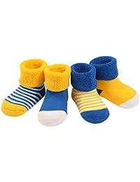 DEBAIJIA 4 Pares Bebé Calcetines Algodón 0-36 Meses Respirable Calcetin Para Niños Niñas Cómodo Absorber el Sudor Suelta Plana